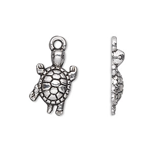 charm, antique silver-plated pewter (zinc-based alloy), 19x12mm single-sided turtle. sold per pkg of 500.