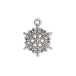 charm, antique silver-plated pewter (zinc-based alloy), 19x17mm double-sided snowflake. sold per pkg of 10.