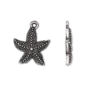 charm, antique silver-plated pewter (zinc-based alloy), 20x19mm single-sided starfish. sold per pkg of 20.