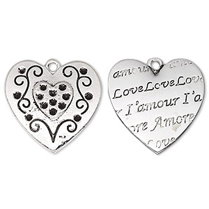 charm, antique silver-plated pewter (zinc-based alloy), 21x20.5mm two-sided flat heart with heart and swirls with love, lamour  amore and (15) pp9 chaton settings. sold individually.