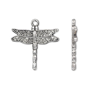 charm, antique silver-plated pewter (zinc-based alloy), 24x22mm single-sided dragonfly. sold per pkg of 10.