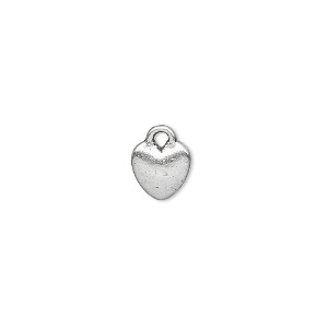 charm, antique silver-plated pewter (zinc-based alloy), 8x8mm double-sided heart. sold per pkg of 50.