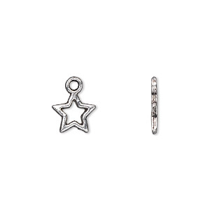 charm, antique silver-plated pewter (zinc-based alloy), 9x8mm double-sided open star. sold per pkg of 100.