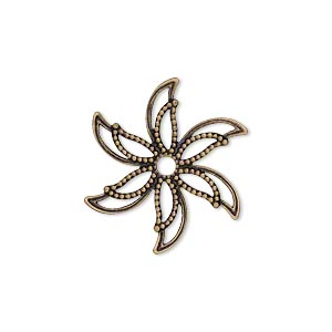 charm, antiqued brass, 24x24mm single-sided fancy flower with cutouts. sold per pkg of 25.