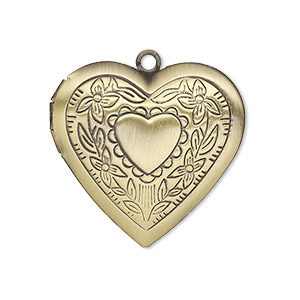 charm, antiqued brass, 29x27mm single-sided heart locket with stamped heart and flower design. sold per pkg of 2.