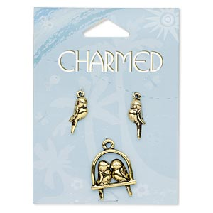 charm, antiqued gold-finished pewter (zinc-based alloy), 23x22mm birds on perch and 19x9mm left- and right-facing bird. sold per 3-piece set.