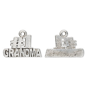 charm, antiqued pewter (tin-based alloy), #1 grandma, 21x12mm. sold per pkg of 4.