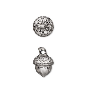 charm, antiqued pewter (tin-based alloy), 12x11mm acorn. sold per pkg of 2.