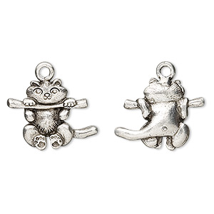charm, antiqued pewter (tin-based alloy), 18x15mm kitten hanging on a limb. sold per pkg of 4.