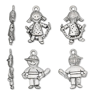 charm, antiqued pewter (tin-based alloy), 19x15mm two-sided girl with rope and 19x16mm two-sided boy with bat. sold per 2-piece set.