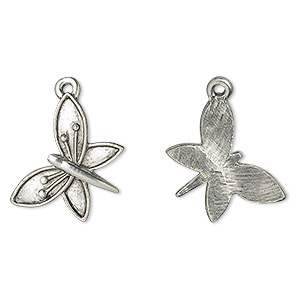 charm, antiqued pewter (tin-based alloy), 20x19mm fancy butterfly. sold per pkg of 4.