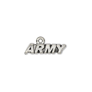 charm, antiqued pewter (tin-based alloy), 20x5mm army. sold per pkg of 4.