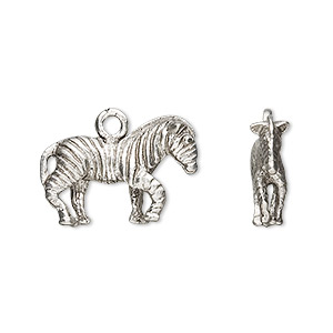 charm, antiqued pewter (tin-based alloy), 21x14mm zebra. sold per pkg of 2.