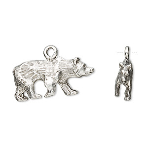 charm, antiqued pewter (tin-based alloy), 24x12mm bear. sold per pkg of 2.