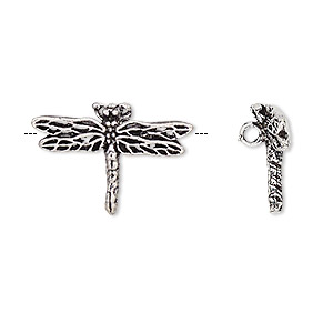 charm, antiqued silver-finished brass, 23x16mm single-sided dragonfly with hidden loop. sold per pkg of 2.