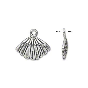 charm, antiqued silver-finished pewter (zinc-based alloy), 17x12mm single-sided fan. sold per pkg of 20.