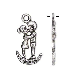 charm, antiqued silver-finished pewter (zinc-based alloy), 25x14mm single-sided kissing couple. sold per pkg of 10.