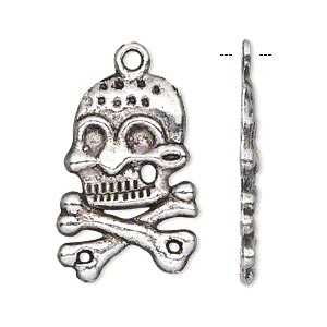 charm, antiqued silver-finished pewter (zinc-based alloy), 26x19mm single-sided skull and crossbones. sold per pkg of 10.