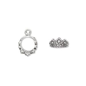 charm, antiqued sterling silver, 10mm 3d crown. sold individually.