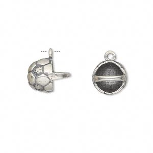 charm, antiqued sterling silver, 10x10mm basket with soccer ball pattern. sold individually.