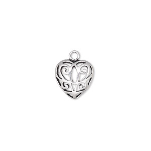 charm, antiqued sterling silver, 11.5mm single-sided domed heart with cutout butterfly. sold individually.