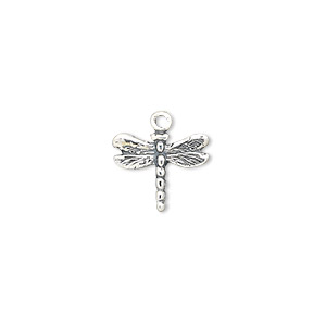 charm, antiqued sterling silver, 13x11mm single-sided dragonfly. sold individually.