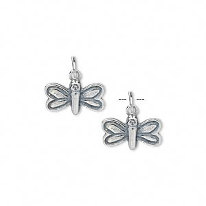 charm, antiqued sterling silver, 13x7mm single-sided dragonfly. sold per pkg of 2.