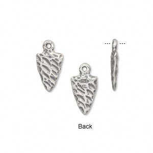 charm, antiqued sterling silver, 15x8mm double-sided arrowhead. sold individually.