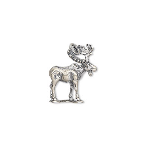charm, antiqued sterling silver, 17.5x14mm 3d moose. sold individually.