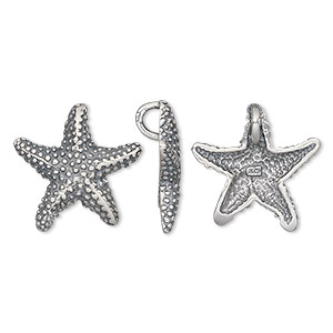 charm, antiqued sterling silver, 18x18mm single-sided starfish. sold individually.