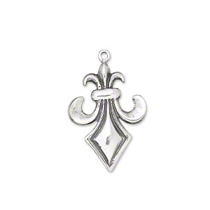 charm, antiqued sterling silver, 23x17mm single-sided fleur-de-lis. sold individually.