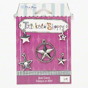 charm, blue moon beads, antiqued silver-finished pewter (zinc-based alloy) and steel with acrylic rhinestone, clear, 10x10mm-24mm assorted star. sold per pkg of 5 charms.