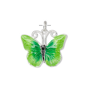 charm, cloisonne, silver-plated copper and enamel, dark and light green, 23x18mm butterfly. sold individually.