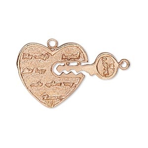 charm, copper, 20x20mm heart and 18x8mm key. sold individually.