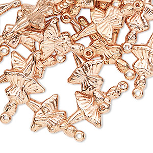 charm, copper-coated acrylic, 22x14mm double-sided ballerina. sold per pkg of 24.