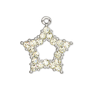charm, czech glass rhinestone and imitation rhodium-plated pewter (tin-based alloy), light green, 25x24mm single-sided open star. sold individually.