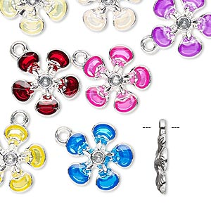 charm, enamel / glass rhinestone / silver-finished pewter (zinc-based alloy), assorted colors, 14x14mm flower. sold per pkg of 8.
