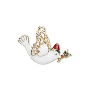 charm, enamel / swarovski crystal rhinestone / gold-finished pewter (zinc-based alloy), multicolored, 26x17mm left- and right-facing single-sided dove with holly. sold per pkg of 2.