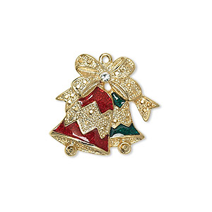 charm, enamel / swarovski crystals / gold-finished pewter (zinc-based alloy), crystal clear / red / green, 21.5x21.5mm single-sided bells with a bow. sold individually.