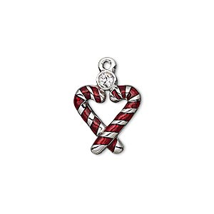 charm, enamel / swarovski crystals / imitation rhodium-plated pewter (zinc-based alloy), crystal clear and red, 18x14mm single-sided candy cane heart. sold individually.