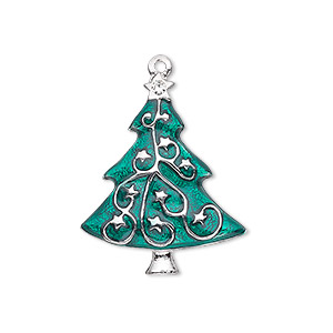 charm, enamel / swarovski crystals / silver-plated pewter (zinc-based alloy), green and crystal clear, 27x22mm single-sided christmas tree. sold individually.