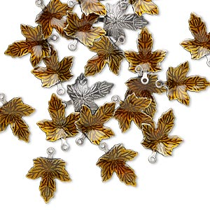 charm, enamel and antique silver-plated brass, brown, 13x12mm single-sided maple leaf. sold per pkg of 100.