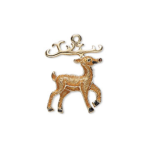 charm, enamel and gold-finished pewter (zinc-based alloy), brown / red / black with glitter, 24x17.5mm single-sided reindeer. sold individually.
