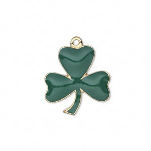 charm, enamel and gold-finished pewter (zinc-based alloy), green, 22x20mm single-sided 3-leaf clover. sold individually.