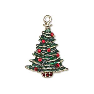 charm, enamel and gold-finished pewter (zinc-based alloy), green and red, 26x20mm single-sided christmas tree with star. sold individually.