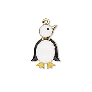 charm, enamel and gold-finished pewter (zinc-based alloy), multicolored, 22x14mm single-sided penguin. sold individually.