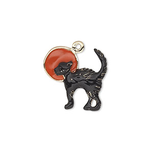 charm, enamel and gold-finished pewter (zinc-based alloy), orange and black, 18x18mm single-sided cat with moon. sold individually.
