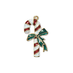 charm, enamel and gold-finished pewter (zinc-based alloy), red / white / green with glitter, 23x14mm single-sided candy cane with bow. sold individually.