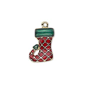charm, enamel and gold-finished pewter (zinc-based alloy), red and green, 17x13mm single-sided stocking. sold individually.