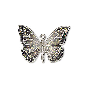 charm, enamel and imitation rhodium-plated pewter (zinc-based alloy), black and clear with glitter, 26x19mm single-sided butterfly. sold individually.